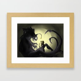 Quiet! there's monsters out there! Framed Art Print