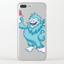 cartoon yeti eating ice cream Clear iPhone Case