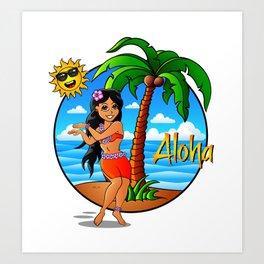 Hawaiian Girl Aloha Art Print