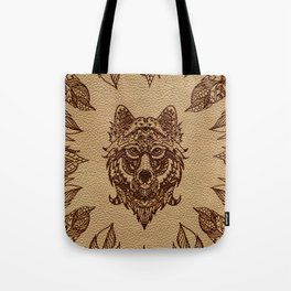Tribal Wolf  and feathers leather embossed effect Tote Bag