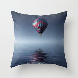 Hot Air Balloon Reflection Throw Pillow