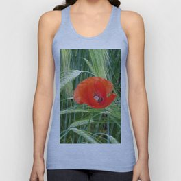 The Red Poppy in the Field Unisex Tank Top