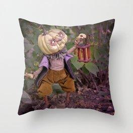 Rucus Studio Pumpkin Man and Fireflies Throw Pillow