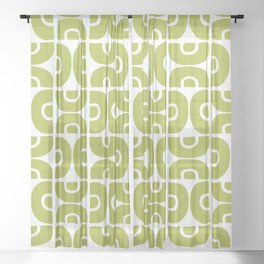 Groovy Mid Century Modern Pattern Chartreuse Sheer Curtain