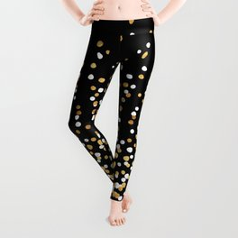 Floating Dots - White and Gold on Black Leggings