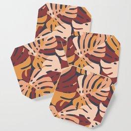Color Block Monstera Leaves in Maroon Coaster