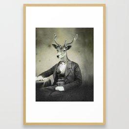Distinguished Deer at Writing Desk Framed Art Print