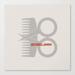 Beardlyman Logo Off-White Canvas Print