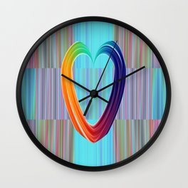 Fractal Art- Pattern Art- Heart Art- Blue Hearts-Pixxie Stixx- LGBT Art- Love- Healing Energy Art Wall Clock