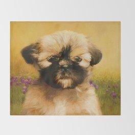 Shih Tzu Puppy in Field of Flowers Throw Blanket