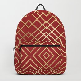 Modern Chinese Red Art Deco Geometric Pattern Backpack