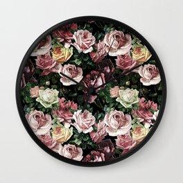 Vintage & Shabby chic - dark retro floral roses pattern Wall Clock