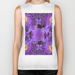 EXOTIC AMETHYST FEBRUARY  FLORAL FANTASY  ABSTRACT Biker Tank