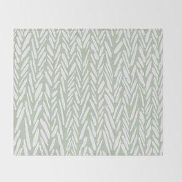 Light green herringbone pattern with cream stripes Throw Blanket