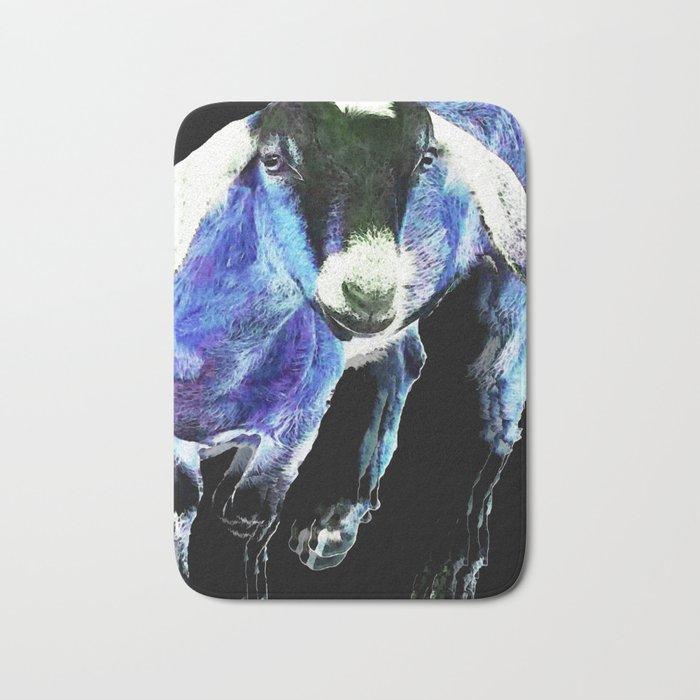 Goat Pop Art - Blue - Sharon Cummings Bath Mat
