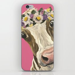 Cute Cow Art, Colorful Flower Crown Cow Art iPhone Skin
