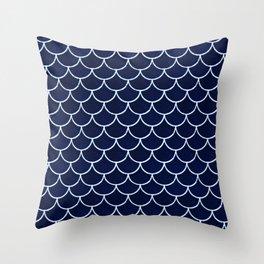 Navy Scale Throw Pillow