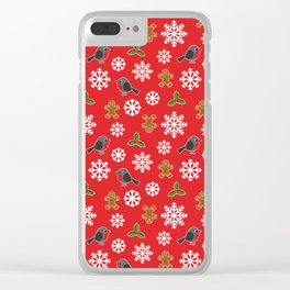 Christmas / Winter Robin Holly Gingerbread Man Snowflakes Pattern Red Clear iPhone Case