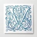 Letter V Elegant Vintage Floral Letterpress Monogram by littlebunnywordtime