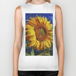 Sunflower In Van Gogh Style Biker Tank