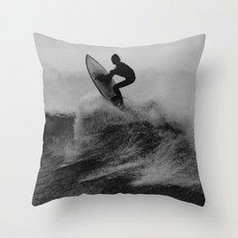 Surf black white Throw Pillow