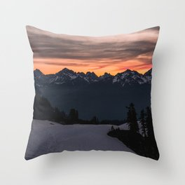 Rising Sun in the Cascades - nature photography Throw Pillow