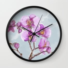Watercolor Orchids Wall Clock