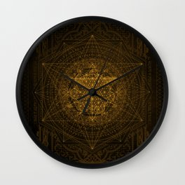Dark Matter - Gold - By Aeonic Art Wall Clock