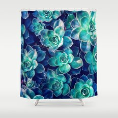 Plants of Blue And Green Shower Curtain