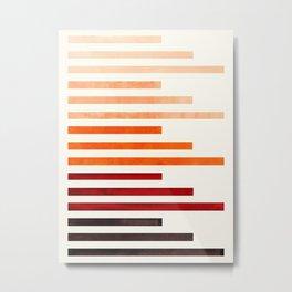 Burnt Sienna Watercolor Gouache Minimalist Staggered Stripes Mid Century Modern Art Metal Print