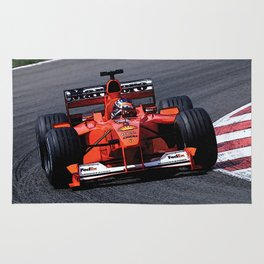 Sketch of F1 Champion Michael Schumacher - year 2000 car F1-2000 Rug