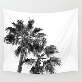B&W Palm Tree Print | Black and White Summer Sky Beach Surfing Photography Art Wall Tapestry