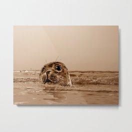 The SEAL - sepia 17 Metal Print