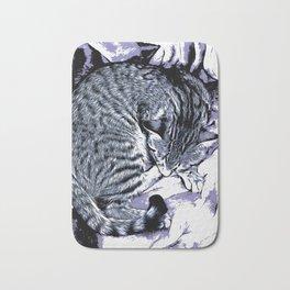 Cute Tabby Kitten Nap Bath Mat
