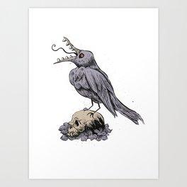 Black Bird on Skull Art Print