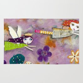 LIVE IN THE SUNSHINE, mixed media art Rug