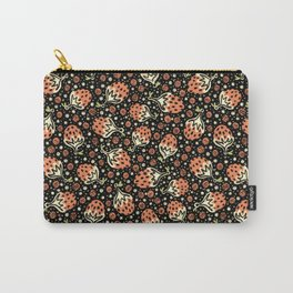Wild Strawberry Field , Woodcut Style Fruit Pattern Illustration Red on Black Carry-All Pouch