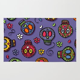Sugar Skulls (on purple) - calavera, skull,  halloween, illustration Rug