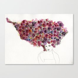 Her Hair is a Bed of Roses Canvas Print