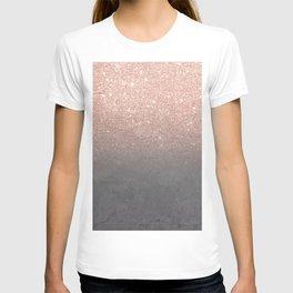 Rose gold glitter ombre grey cement concrete T-shirt