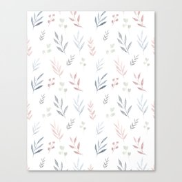 Pastel Leaf Pattern Canvas Print
