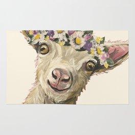 Flower Crown Animal, Goat Art, Farm Animal Rug