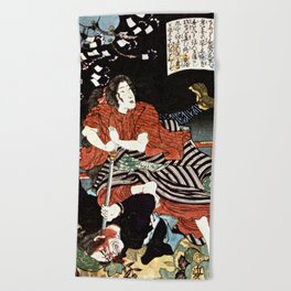 The Woman Kansuke Slaying an Assailant with a Sword Beach Towel