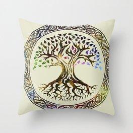 Tree of life  -Yggdrasil - Gold & Green  foil Throw Pillow