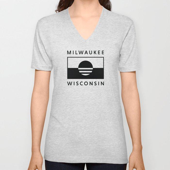 Milwaukee Wisconsin - Black - People's Flag of Milwaukee Unisex V-Neck