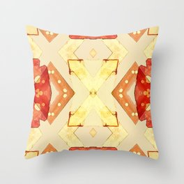 Gold X with Red and Gold Pattern Throw Pillow