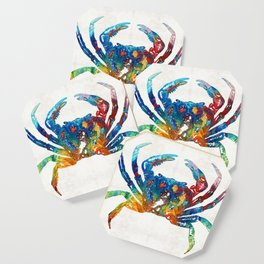Colorful Crab Art by Sharon Cummings Coaster