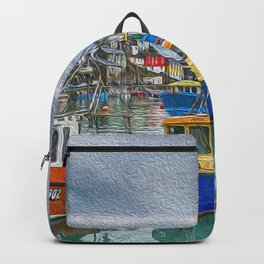 Boats in Mevagissey Harbour. Backpack