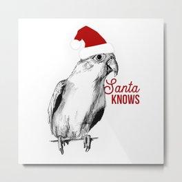 "Christmas Bird ""Santa Knows"" Metal Print"