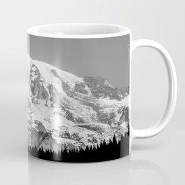 Mount Rainier Black and White Coffee Mug